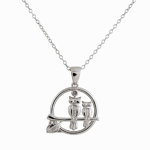 STERLING SILVER RHODIUM PLATED DIAMOND ACCENT TWO OWLS ON A BRANCH PENDANT, 18