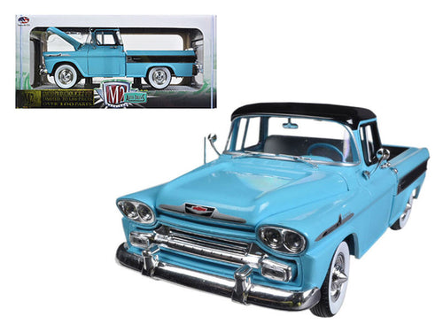 1958 Chevrolet Apache Cameo Pickup Truck Tarton Turquoise 1/24 Diecast