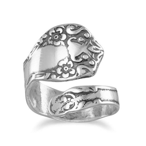 Oxidized Sterling Silver Floral Spoon Ring