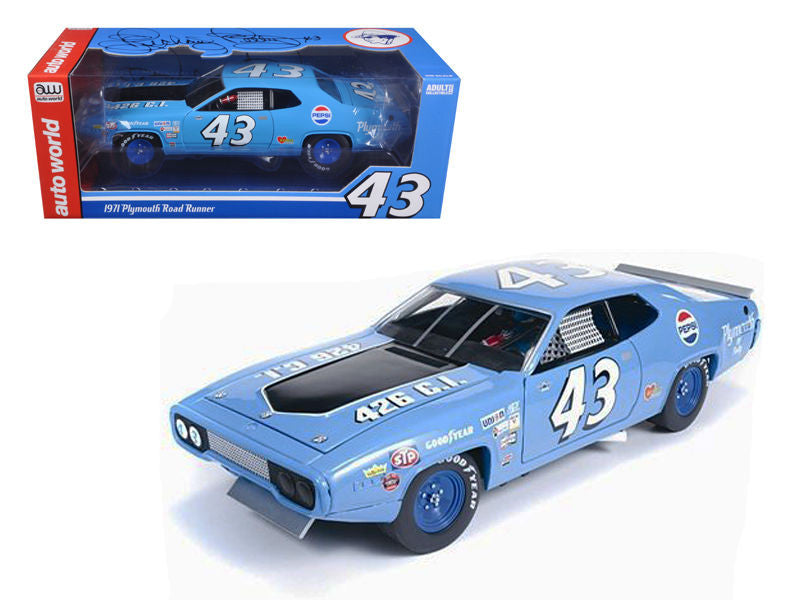 1971 Plymouth Road Runner Richard Petty Blue / Pepsi #43 Ltd to 2500pc 1/18 Diec