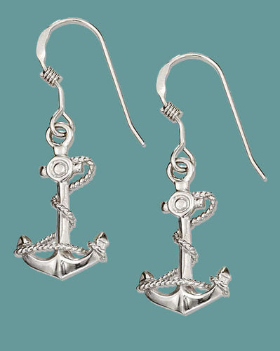 STERLING SILVER ANCHOR EARRINGS WITH ROPE