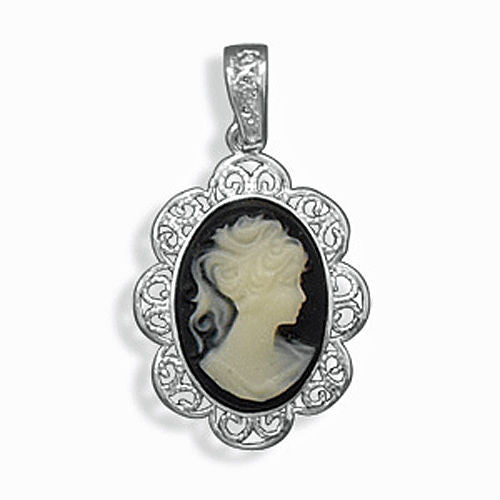 Sterling Silver Cameo Pendant with Filigree Edge