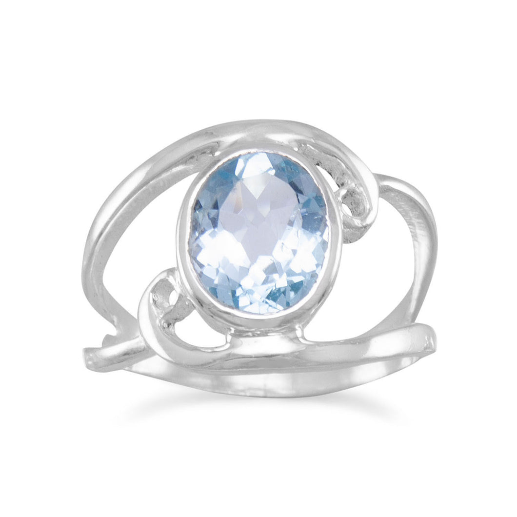 Sterling Silver Cut Out Oval Blue Topaz Ring with Swirls