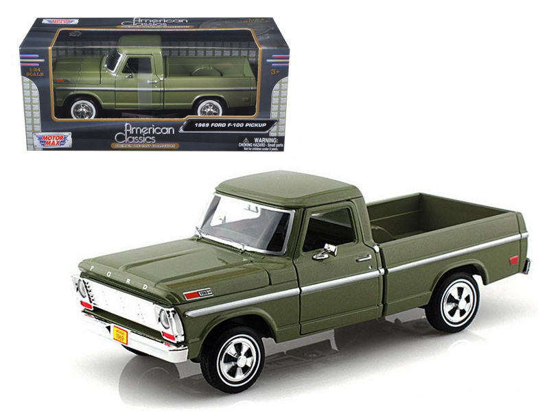 1969 Ford F-100 Pickup Truck Green 1/24 Diecast Truck by Motormax