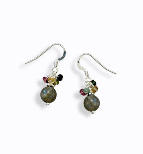 Sterling Silver Baila Luna Colorful Tourmaline and Labradorite Bead Earrings