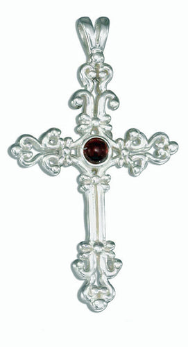 STERLING SILVER ANTIQUED OPEN SCROLLED GARNET CROSS PENDANT