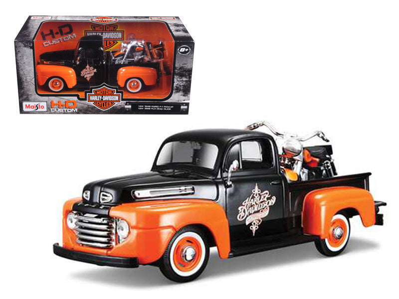 1/24 Scale '48 Ford F-1 Pickup Orange/Black/1958 FLH Duo Glide Harley Davidson
