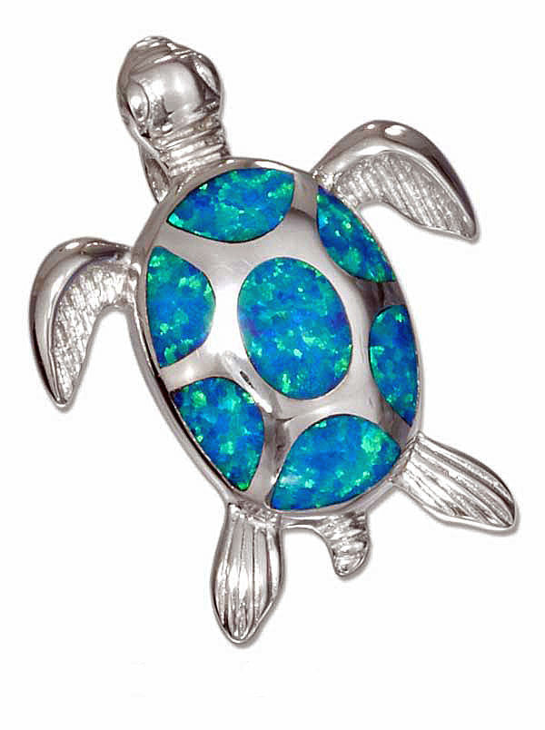 STERLING SILVER SYNTHETIC BLUE OPAL SEA TURTLE PENDANT