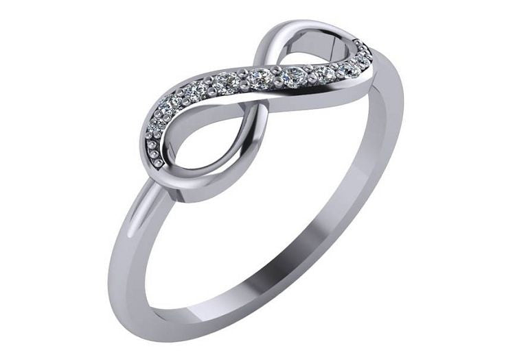 .13 Carat Diamond Infinity Ring in 14k White Gold Sizes 3-9