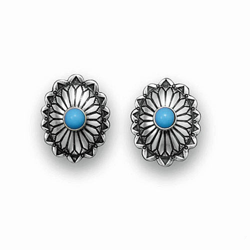 Oxidized Sterling Silver Turquoise Concho Stud Earrings