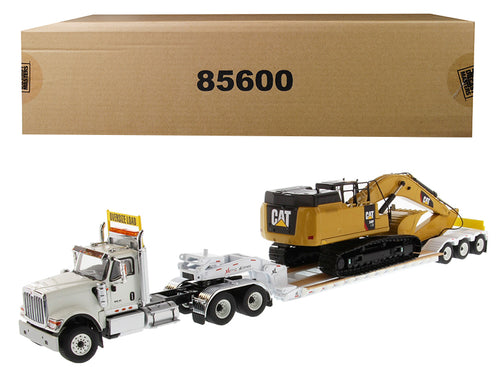 International HX520 Tandem Tractor White with XL 120 Lowboy Trailer and CAT Caterpillar 349F L XE Hydraulic Excavator Set of 2 pieces 1/50 Diecast Models by Diecast Masters