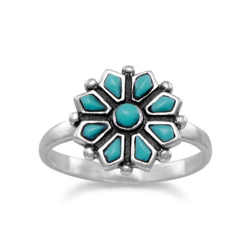 925 Sterling Silver Reconstituted Turquoise Flower Ring