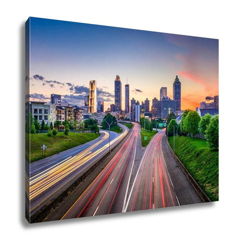 Gallery Wrapped Canvas, Atlanta Georgia Downtown City Skyline Over Freedom Parkway