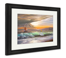 Framed Print, Oil Painting On Canvas Sailboat Against A Of Sea Sunset