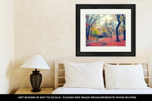 Framed Print, Central Park At Rainy Morning New York City USA