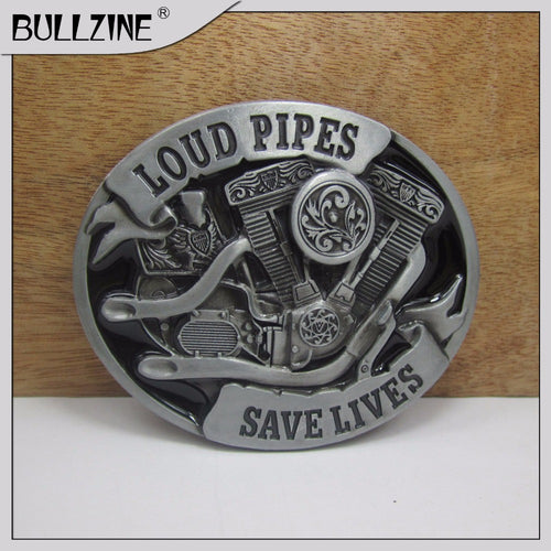 Loud Pipes Belt Buckle With Pewter Finish Suitable For 1 1/2  Width Belt