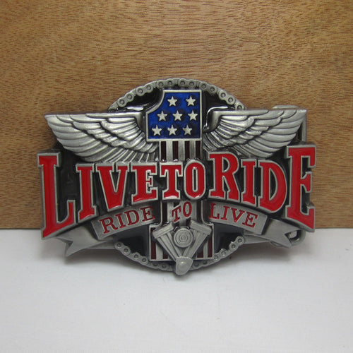 Live To Ride Belt Buckle  Pewter Finish For 1 1/2 Inch Belt