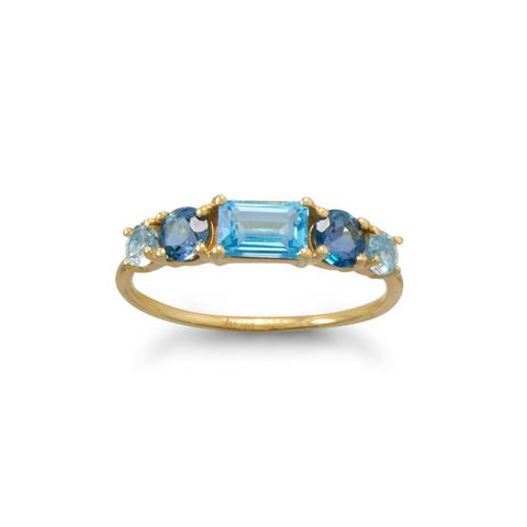 14 Karat Gold Plated Monochromatic Blue Topaz Ring