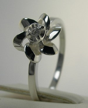 Beautiful New Floral Design Genuine Diamond Promise Ring Silver Sizes 3-10