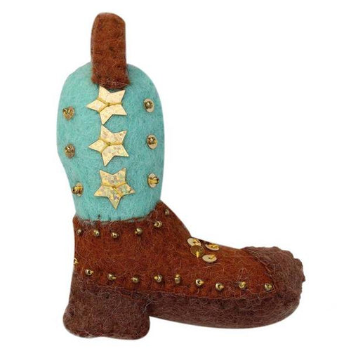 COWGIRL BOOT FELT ORNAMENT - GLOBAL GROOVE AVAILABLE IN TWO COLORS