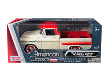 1958 Chevrolet Apache Fleetside Pickup Truck Cream with Red Top or yellow with Black Top 1/24 Diecast Model Car by Motormax