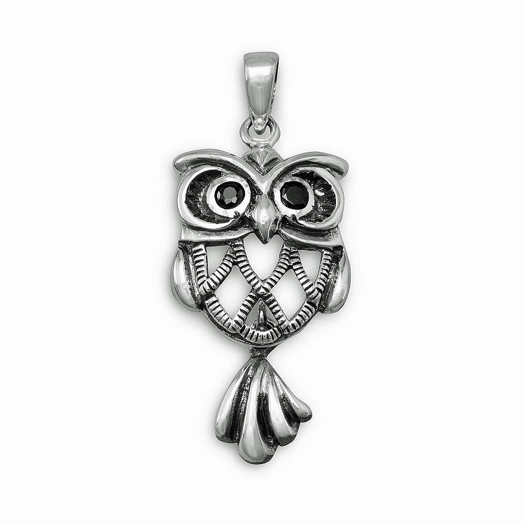 Sterling Silver Oxidized Owl Pendant