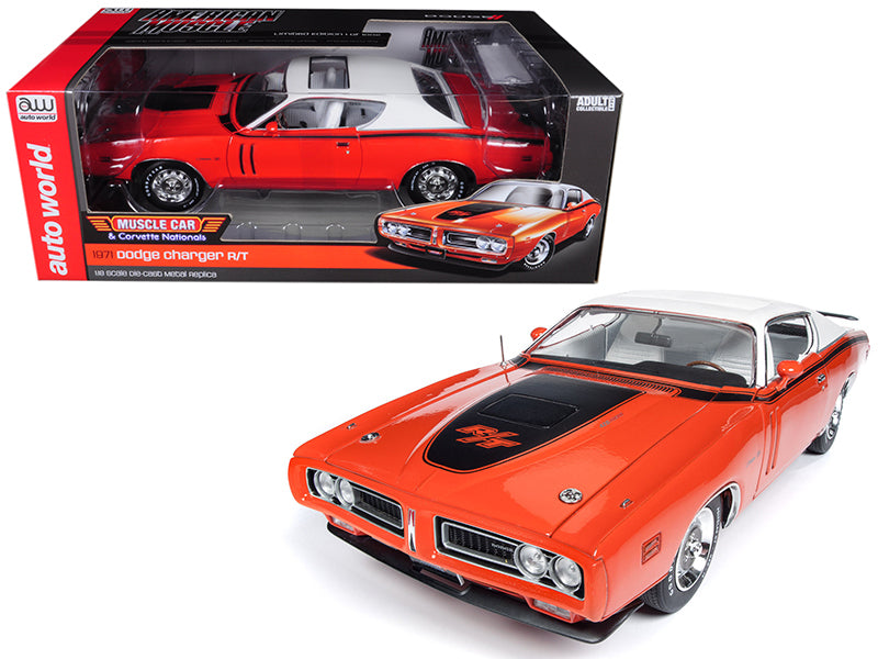 1971 Dodge Charger R/T with Sunroof Orange and White Top (MCACN) Limited Edition to 1002 pieces Worldwide 1/18 Diecast Model Car by Autoworld