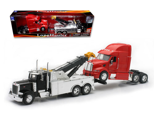 Peterbilt 379 Tow Truck Black with Red Peterbilt Tractor Set 1/32 Diecast Model by New Ray