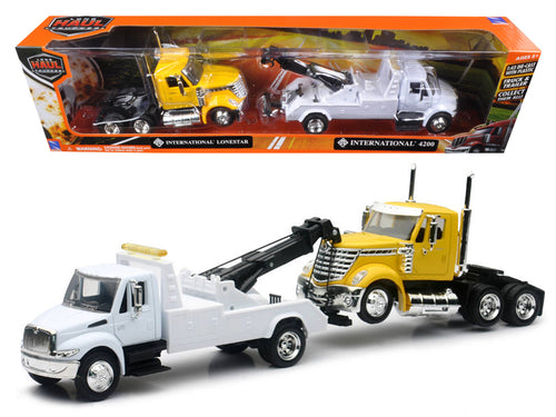 International 4200 Tow Truck White and International Lonestar Cab Yellow 1/43 by New Ray
