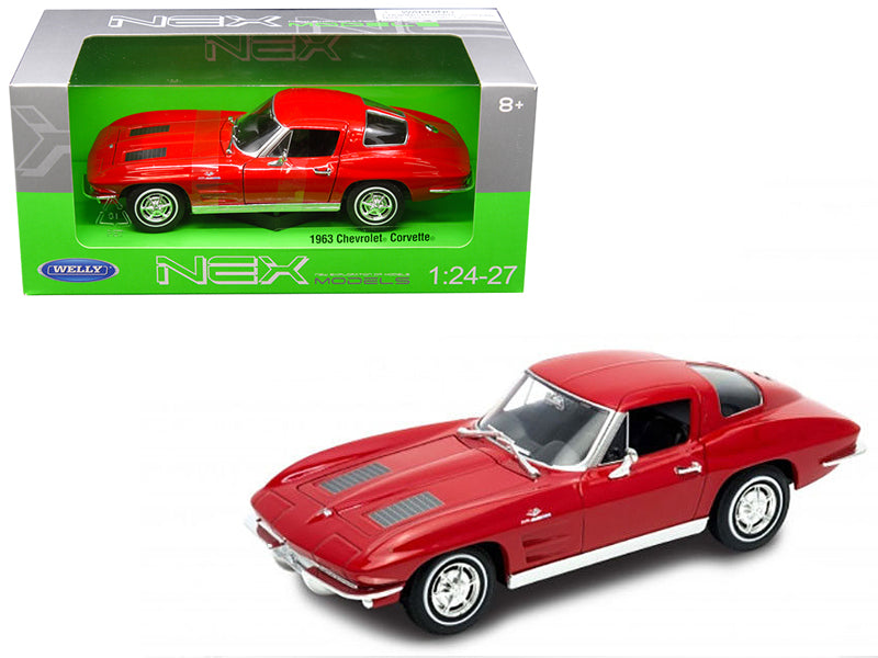 1963 Chevrolet Corvette Red or Metallic Light Blue 1/24 -27 Diecast Model Car by Welly