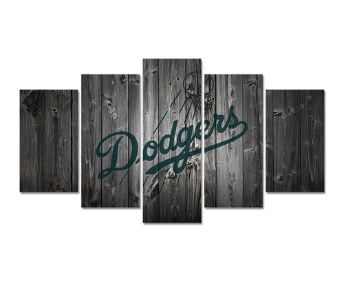 Five Panel Los Angeles Dodgers Wall Hanging Framed or Unframed