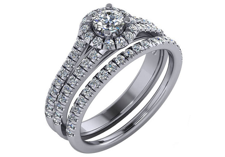 1.00 Carat Total Weight Natural Diamond Halo Bridal Set in 14K White Gold Size 4-9