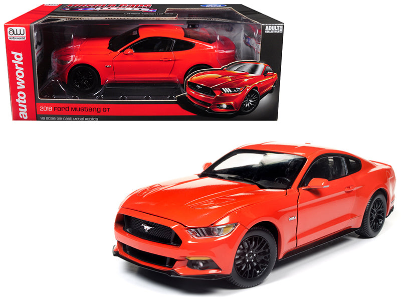 2016 Ford Mustang GT 5.0 Coupe Competition Orange Limited Edition to 1002 pieces 1/18 Diecast Model Car by Autoworld