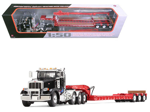Peterbilt 367 with Tri Axle Lowboy Trailer Komatsu Black and Red 1/50 Diecast Model by First Gear