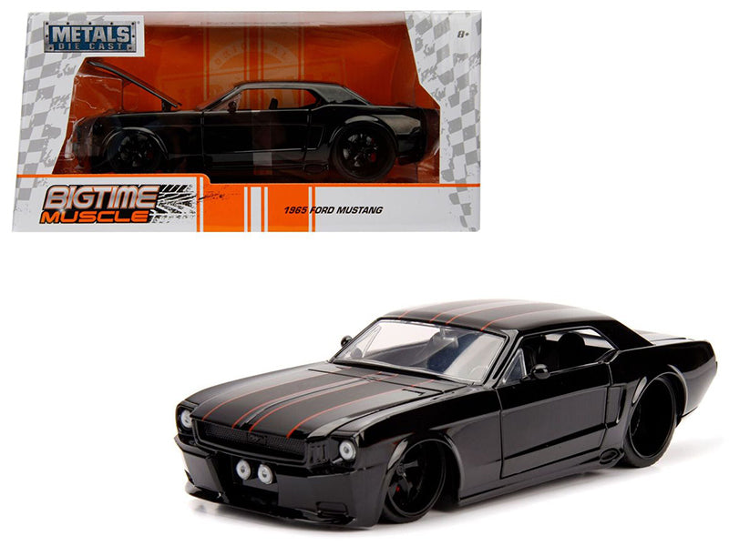 1965 Ford Mustang Black with Matte Black Stripes 1/24 Diecast Model Car by Jada