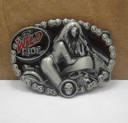 Wild Ride Belt Buckle With Pewter Finish Fits Approximately 1 1/2 Inch Belts