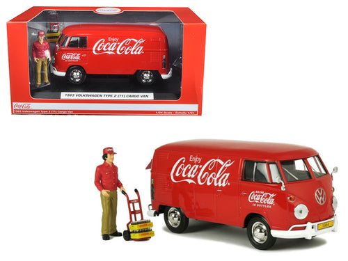 1963 Volkswagen T1 Coca Cola Cargo Van with Delivery Driver 1/24 Diecast Model Car by Motor City Classics