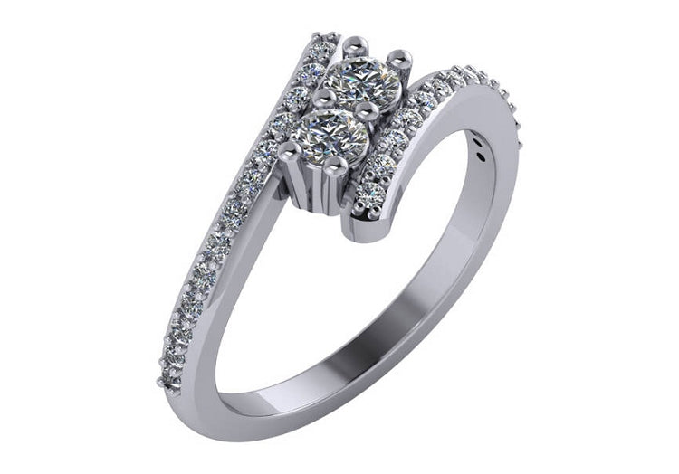 1/2 CT Two Stone Diamond Bypass Ring in 14K White Gold Sizes 4-9
