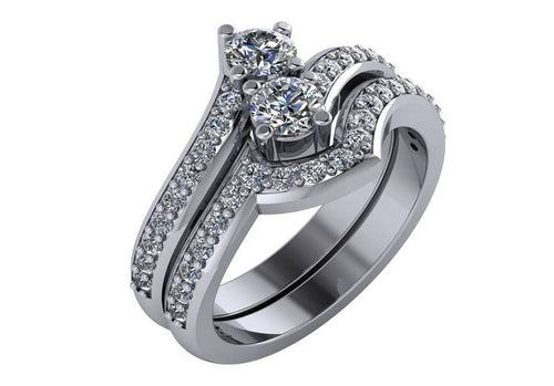 1.10 Carat Total Weight Two Stone Diamond Engagement Ring Set 14Kt White Gold