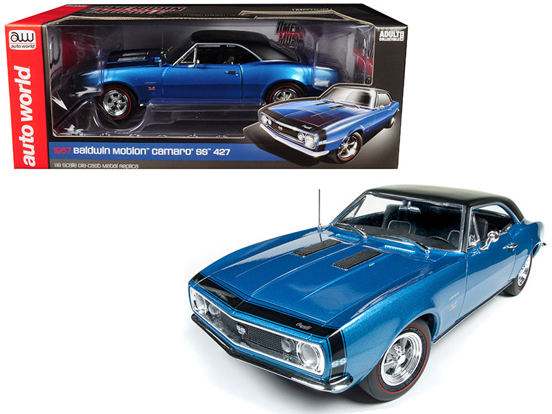 1967 Chevrolet Camaro SS 427 Baldwin Motion Marina Blue with Black Hardtop 50th Anniversary Limited Edition to 1002 pieces Worldwide 1/18 Diecast Model Car by Autoworld