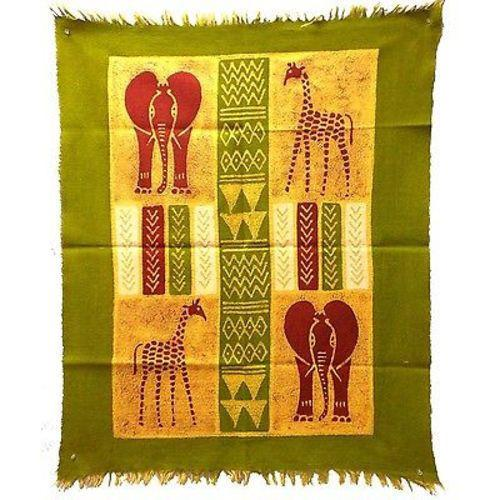 AFRICAN QUAD BATIK IN GREEN/YELLOW/RED OR  IN THREE BLUES WALL ART