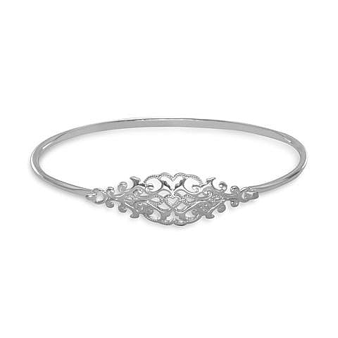 925 Sterling Silver Ornate Cut Out Design Bangle