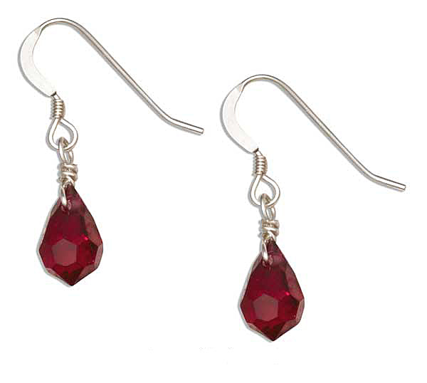 STERLING SILVER BIRTHSTONE FACETED PEAR CRYSTAL DANGLE EARRINGS