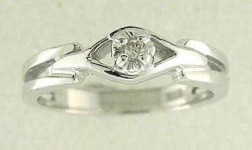 Genuine Diamond Solitaire Promise Ring 10k White or Yellow Gold Sizes 3-10