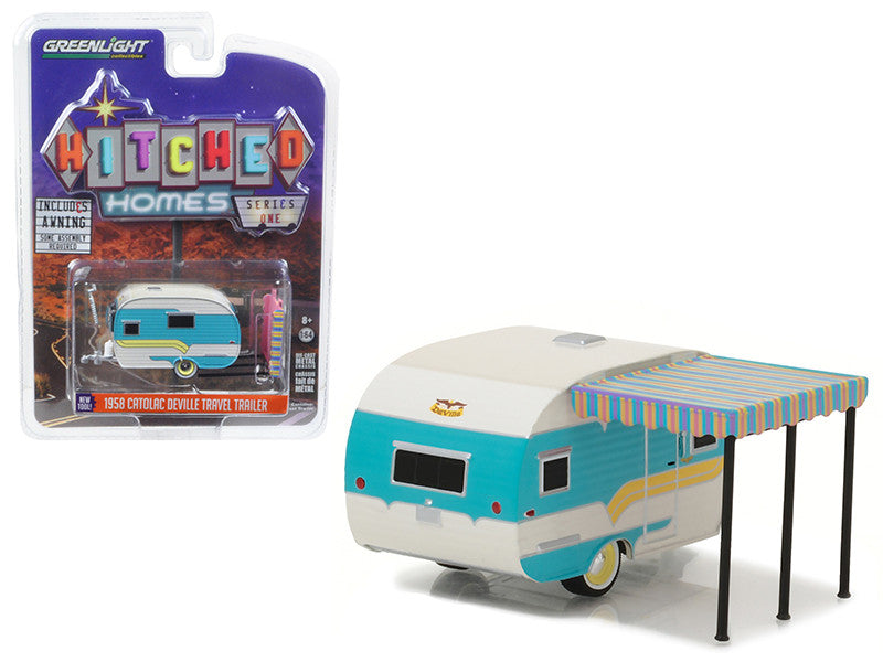 1958 Catolac DeVille Travel Trailer White and Teal 1/64 Diecast Model by Greenlight