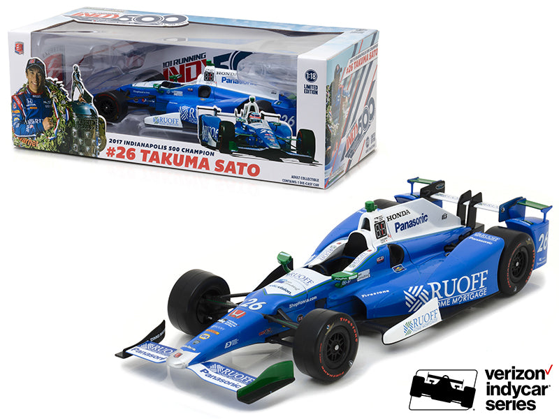 2017 Indianapolis 500 Champion #26 Takuma Sato / Andretti Autosport, Ruoff Home Mortgage 1/18 Diecast Model Car by Greenlight
