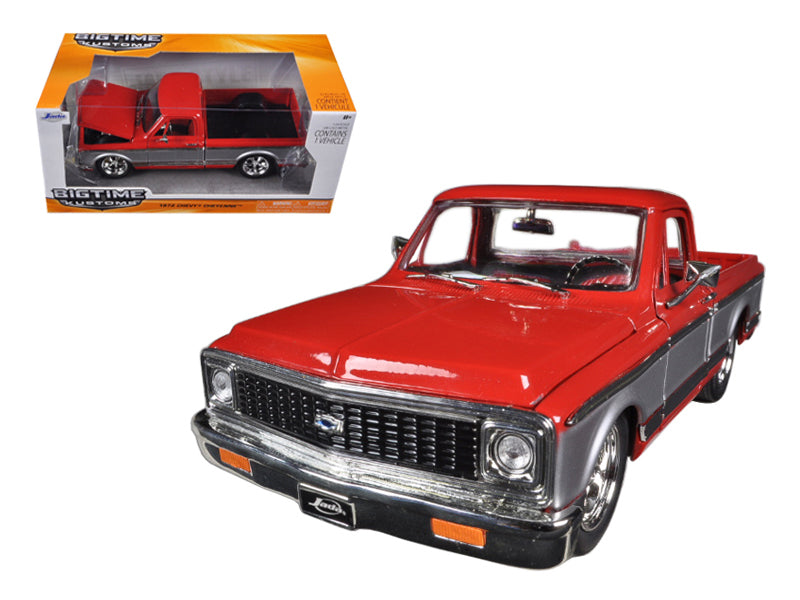 1972 Chevrolet Cheyenne Pickup Truck Red / Silver or Blue/Silver 1/24 Diecast Model by Jada