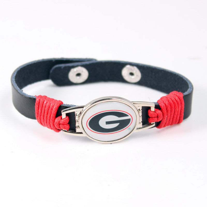 Georgia Bulldogs Team Logo Adjustable Leather Bracelet