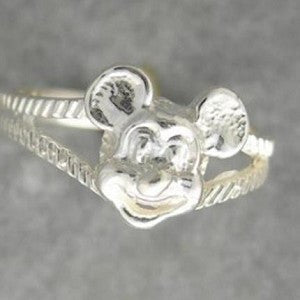 New Women's Children's Jewelry Cute Mickey Mouse Ring 10kt White Gold