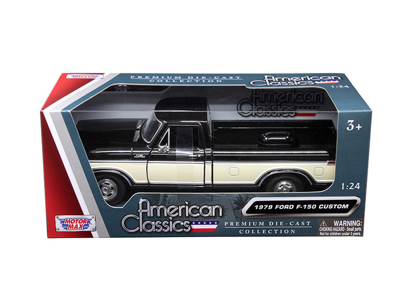 1979 Ford F-150 Pickup Truck 2 Tone Black/Cream 1/24 Diecast Model Car by Motormax